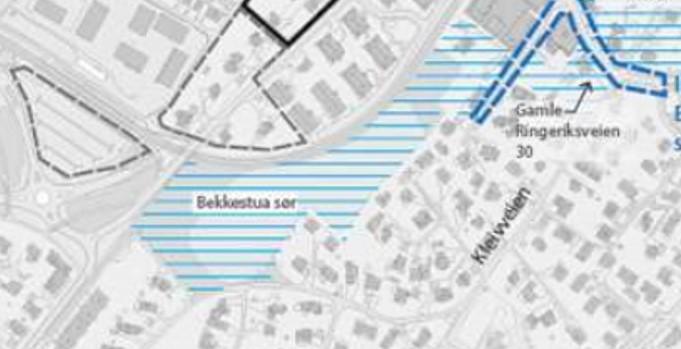 Dette er det potensielle utbyggingsområdet Bekkestua Sør, som strekker seg fra Bekkestua Sentrum og sørvestover mellom T-banen og Kleivveien.