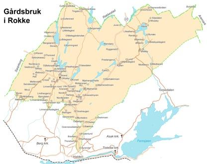 Kart over Rokke sogn med gårder og husmannsplasser. Fortsatt under utarbeidelse.