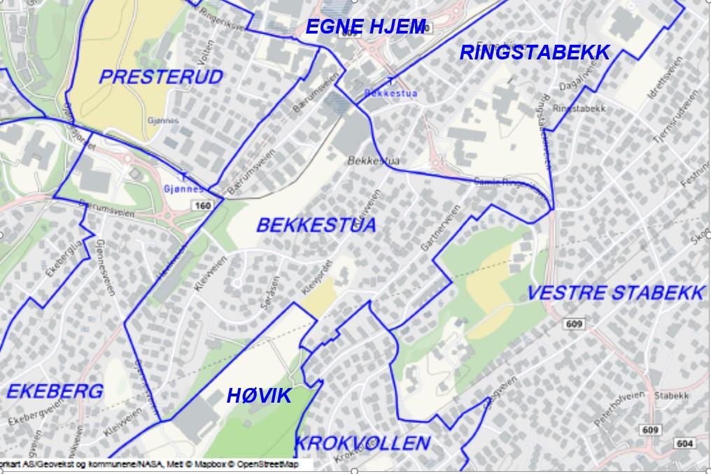 Velgrensene er definert av Bærum Kommune