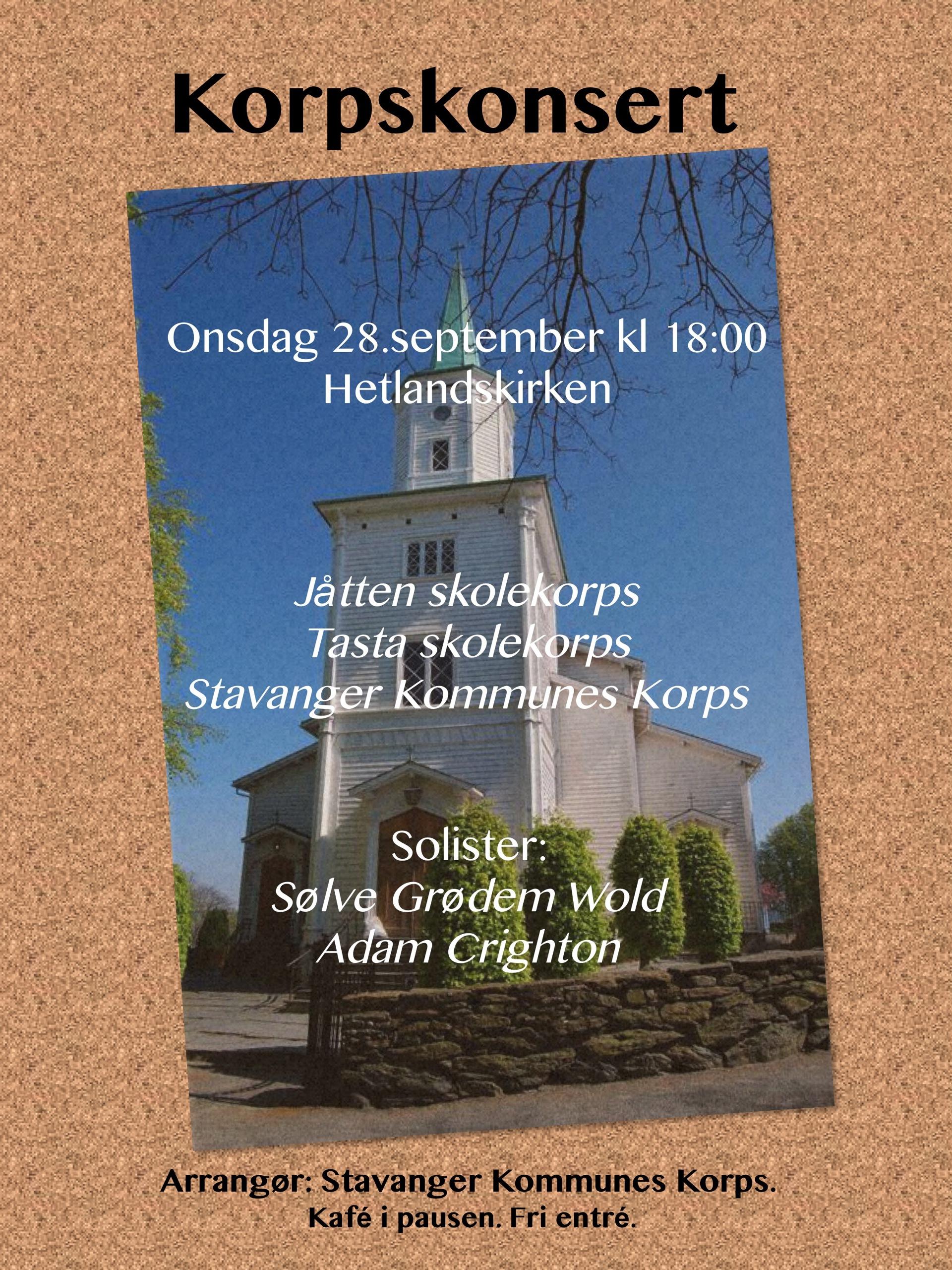 Plakat 28 sept_konsert Jåtten, Tasta, Kommunekorps