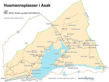 Kart over Asak sogn med gårder og husmannsplasser