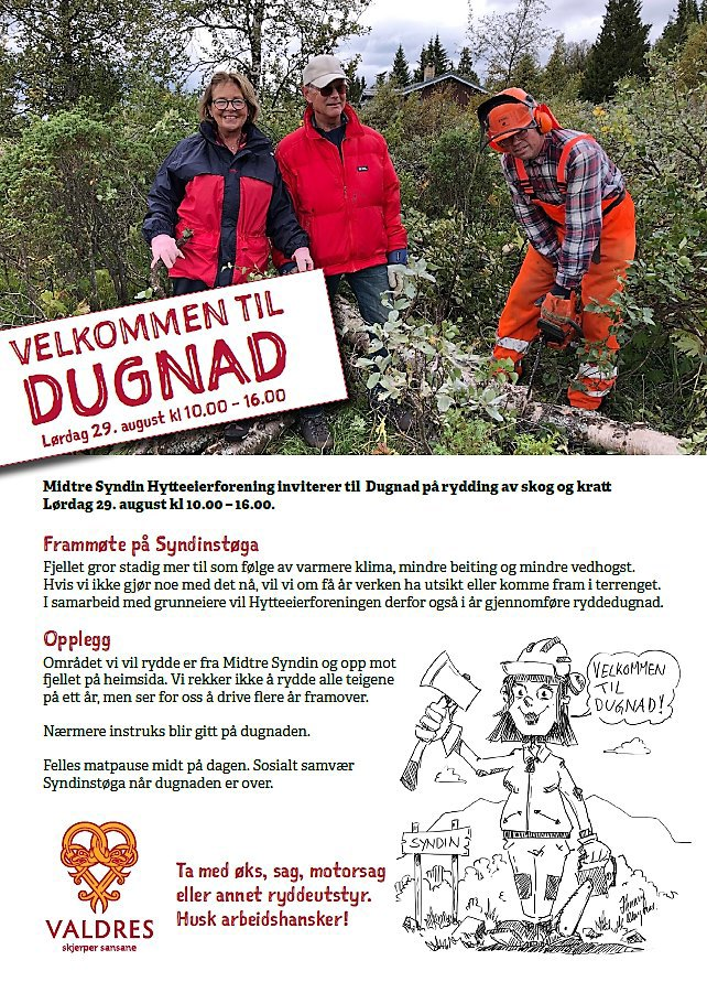 Dugnad for rydding av skog og kratt.