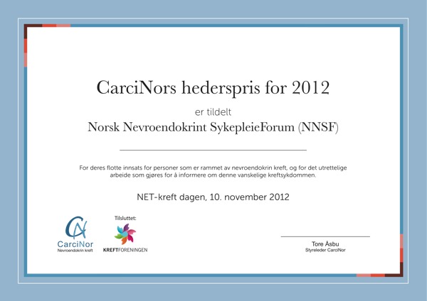 CarciNors hederspris for 2012