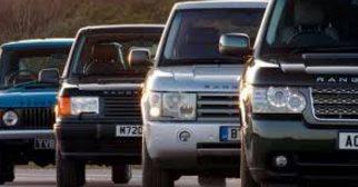 Eksempler på alle modellene som er produsert av Land Rover.