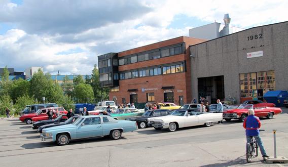Amcar Lillestrøm stilte med mange biler både i Strømmen og på Rådhusplassen i Oslo