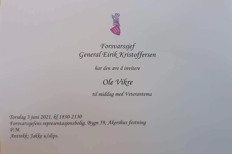 Innbydelsen fra Forsvarssjefen til Ole Vikre 3 juni 2021.jpg