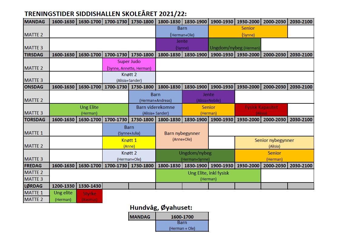 Treningstider Siddishallen skoleåret 2021-22 Stava